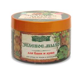 Натуральное таежное зеленое мыло для бани и душа для ухода за телом и волосами, 450г Форму�