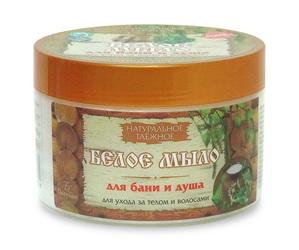 Натуральное таежное белое мыло для бани и душа для ухода за телом и волосами, 450г Форму�