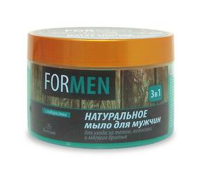 Натуральное мыло для мужчин для ухода за телом и волосами и мягкого бритья «3 в 1», 450г Форму�