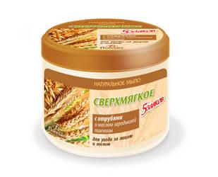 Мыло сверхмягкое «5 злаков» С ОТРУБЯМИ и маслом зародышей пшеницы, 450мл Форму�